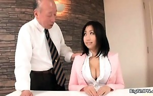 Breasty oriental slut goes crazy rubbing