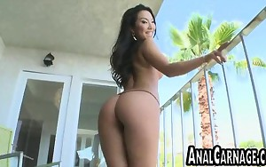 Huge tit brunette asian gets drilled by a giant cock