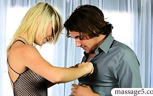 Blonde masseuse Carmen Callaway milking her clients large..