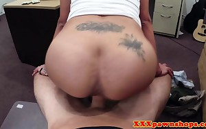 Curvy latin chick nailed on pawn shop desk