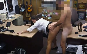 Well Dressed Dark brown Beauty Screwed In Pawn Shop Office