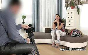 Model with giant booty gangbanged on casting cute darkhaired