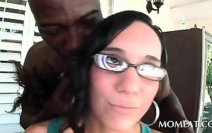 Cutie in glasses cunt licked by horny black guy