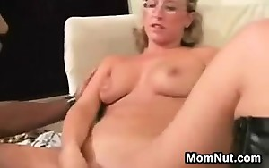 Blonde Mom Drilled By A Large Darksome Cock