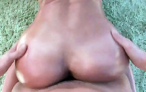 Bare curvy brunette cum-hole drilled doggy style