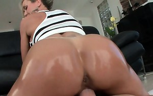 Sweet booty hooker going up and down huge cock