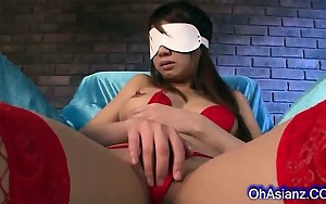 Sexy blindfolded asian cums hard