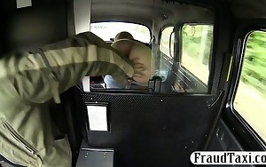 Big tits amateur shows off her a-hole and fucked in the cab