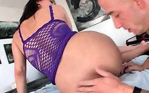 Sexually excited big arse brunette fucks hard large cock