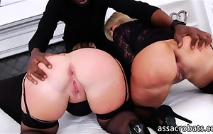 Blonde vixens Dee Siren and Naughty Alysha booty destroyed