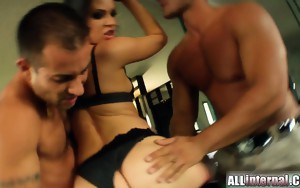 Emilie gets her ass fucked by two guys. They are so horny..