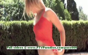 Liz amazing blonde girl toying pussy with a vibrator outdoor