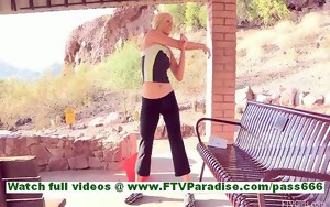 Lindy cute little sporty blonde exercising and flashing..