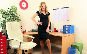 Sexy secretary posing and stripping