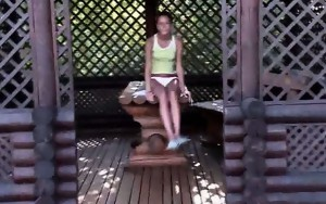 czechian girl Natasha banged on a bench