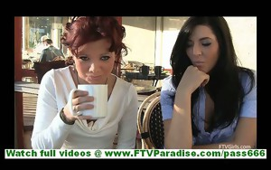 Rita and Madeline amateur lesbian couple walking and..